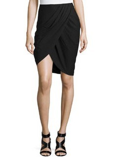 Lafayette 148 New York Wool-Blend Side-Draped Skirt, Black