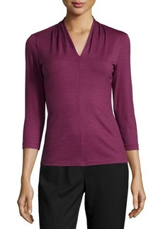 Lafayette 148 New York Wool-Blend V-Neck Top