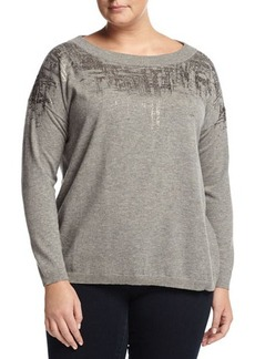 Lafayette 148 New York Plus Wool Brushstroke Boat-Neck Sweater