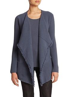 Lafayette 148 New York Wool-Cashmere Fringe-Detail Cardigan