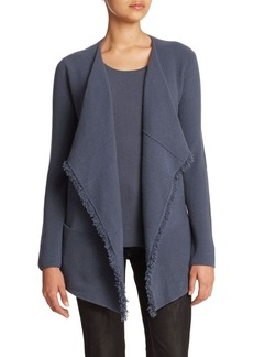 Lafayette 148 New York Wool-Cashmere Fringe-Detail Cardigan