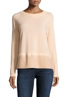 Lafayette 148 New York Wool Contrast-Hem Raglan Sweater