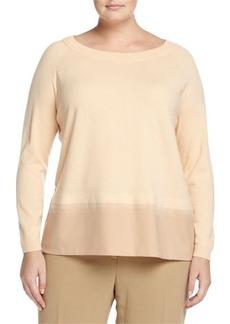Lafayette 148 New York Plus Wool Contrast-Hem Raglan Sweater