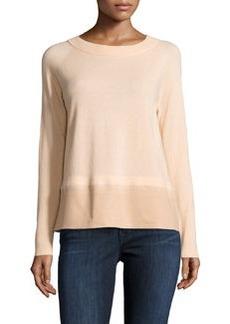 Lafayette 148 New York Wool Contrast-Hem Raglan Sweater, Sachet