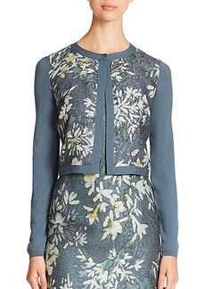 Lafayette 148 New York Wool Floral Cloque Shrug