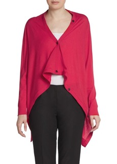 Lafayette 148 New York Wool Long-Sleeve Draped Cardigan