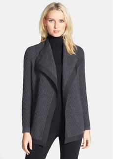 Lafayette 148 New York Woven Back Zigzag Merino Wool Cardigan (Regular & Petite)