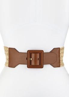 Lafayette 148 New York Woven Leather-Trim Belt
