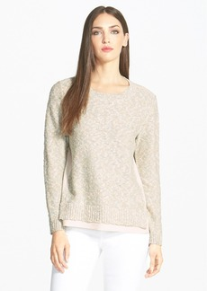 Lafayette 148 New York Woven Side Crewneck Sweater