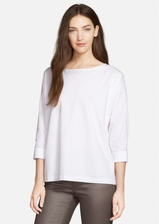 Lafayette 148 New York Woven Sleeve Stretch Knit Tee