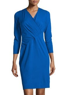 Lafayette 148 New York Wrap Front Pleated 3/4-Sleeve Dress, Neptune