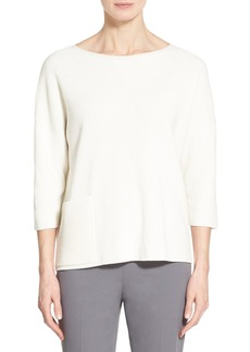 Lafayette 148 New York Wrap Pocket Bateau Neck Sweater