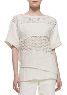 Lafayette 148 New York Xena Short-Sleeve Textured Linen Panel Top