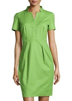 Lafayette 148 New York Yaelle Short-Sleeve Pleated Dress, Green