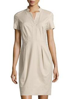 Lafayette 148 New York Yaelle Short-Sleeve Pleated Dress, Khaki