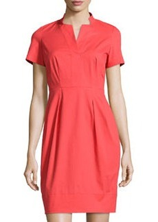 Lafayette 148 New York Yaelle Short-Sleeve Pleated Dress, Passion