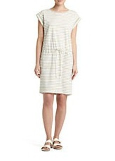 LAFAYETTE 148 NEW YORK Yarn Dye Cotton Striped Drawstring Dress