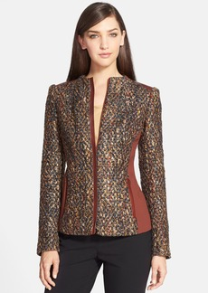Lafayette 148 New York 'Yelena' Faux Leather Trim Tweed Jacket