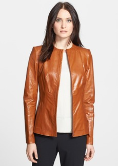 Lafayette 148 New York 'Yelena' Varnished Leather Jacket