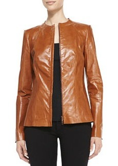 Lafayette 148 New York Yelena Zip-Front Leather Jacket