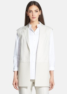 Lafayette 148 New York 'Zali' Faux Leather & Linen Vest