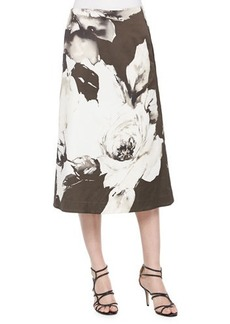 Lafayette 148 New York Zarita Vintage Roses Printed Tea-Length Skirt