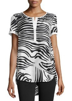 Lafayette 148 New York Zebra-Print Short-Sleeve Tunic, White/Black
