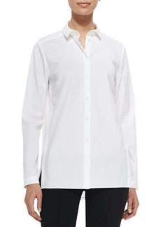Lafayette 148 New York Zelida Long-Sleeve Organza-Back Blouse