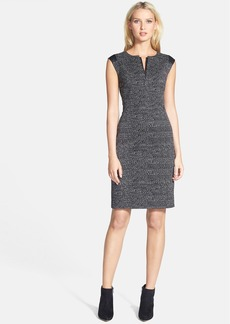 Lafayette 148 New York 'Zelina' Faux Leather Trim Jacquard Dress (Petite)