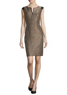 Lafayette 148 New York Zelina Jacquard Sheath Dress, Espresso Multi