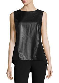 Lafayette 148 New York Zia Sleeveless Leather Top