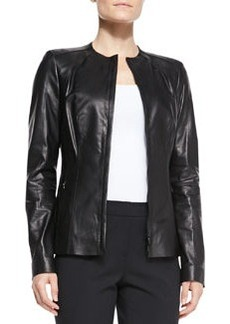 Lafayette 148 New York Zia Zip Leather Jacket, Black