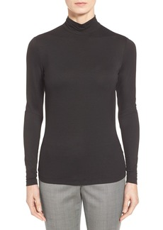 Lafayette 148 New York Zip Back Mock Neck Jersey Top