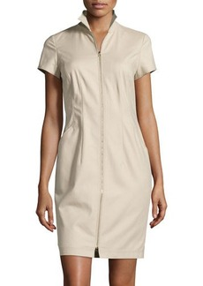 Lafayette 148 New York Zip-Front Short-Sleeve Sheath Dress