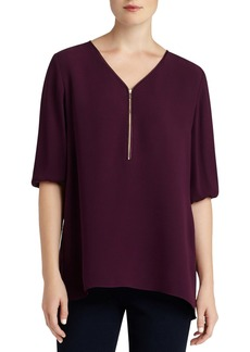 Lafayette 148 New York Zip V-Neck Silk Blouse