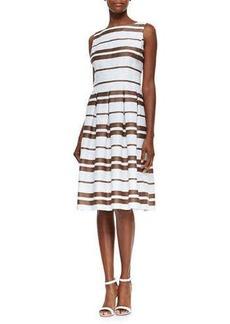 Lafayette 148 New York Zoe Sleeveless Striped Pleated Dress  Zoe Sleeveless Striped Pleated Dress