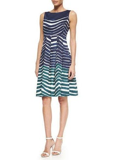 Lafayette 148 New York Zoe Sleeveless Striped Poplin Dress, Blue/Teal/White