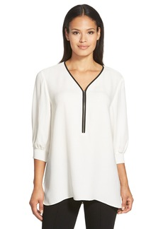 Lafayette 148 New York 'Tiara' Zip Front V-Neck Silk Blouse (Regular & Petite)