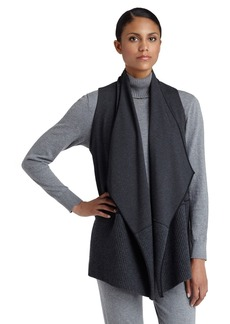 Lafayette 148 New York Rib Knit Detail Cascade Collar Vest