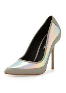 L.A.M.B. Bethel Iridescent Pointed-Toe Pump, Pink/Gray