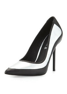 L.A.M.B. Bethel Iridescent Pointed-Toe Pump, Silver/Black