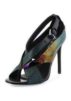 L.A.M.B. Beverlee Perforated Sandal, Black/Turquoise