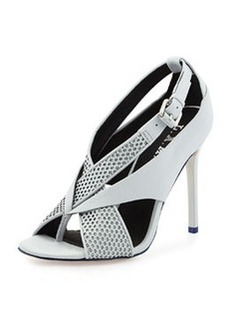 L.A.M.B. Beverlee Perforated Sandal, Light Gray/Black