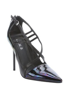 L.A.M.B. black and iridescent leather 'Boston' strappy pumps