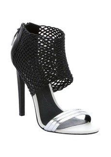 L.A.M.B. black and silver leather and fabric 'Bishop' sandals