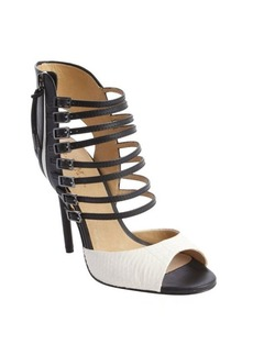 L.A.M.B. black and white leather and snake embossed strappy heel 'Larson' sandals