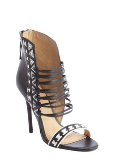 L.A.M.B. black and white strappy leather 'Savanna' heel sandals