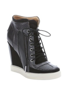 L.A.M.B. black leather and suede 'Summer' lace-up wedge sneakers