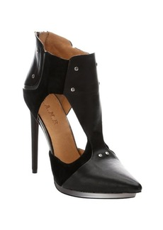 L.A.M.B. black leather and suede 'Trevor' cutout pumps