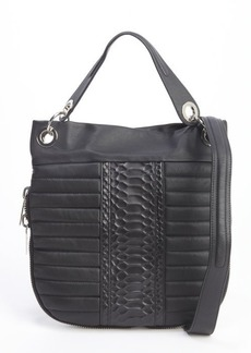 L.A.M.B. black leather 'Casta' quilted hobo bag